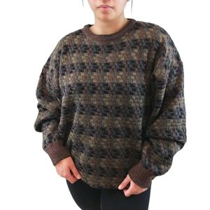 Vintage Zigzag Stripe Knit Long Sleeve Sweater XL